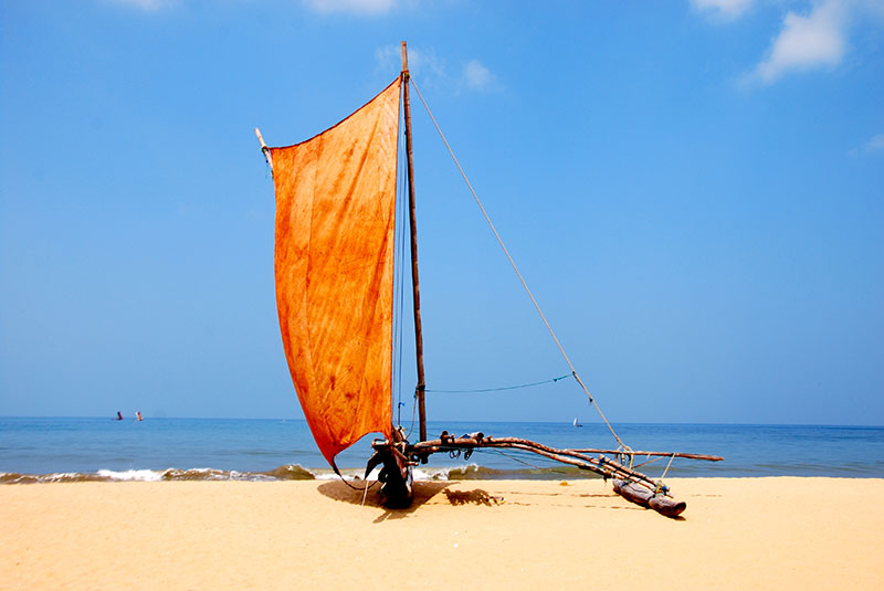 A boat on Negombo Beach, Sri Lanka