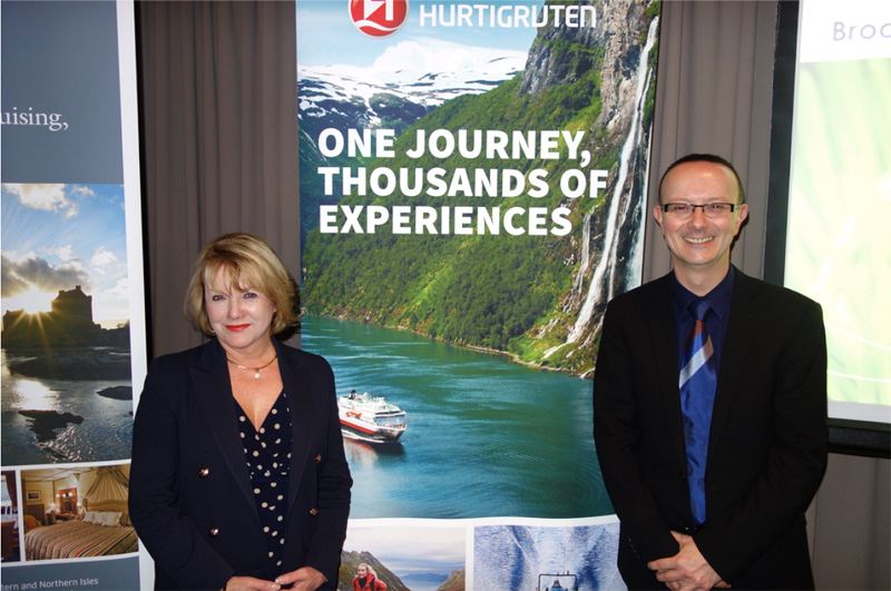 Discover the World Country Director Australia Jeanie Foster and Manager of Cruise, Product and Analytics Roger Condon at the Sydney media brochure launch July 2016