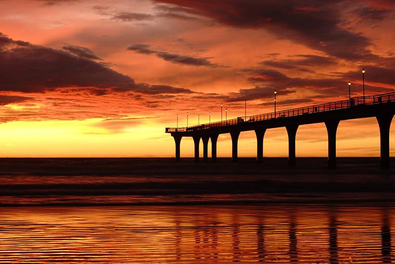 Christchurch, New Brighton Beach, sunrise, New Zealand