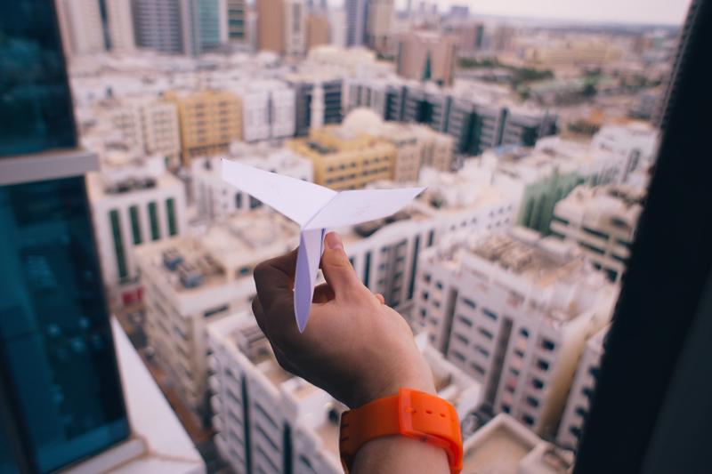 Paper plane, flying, children