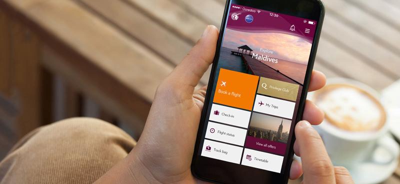 Mobile app, Qatar Airways, travel