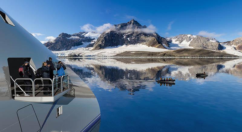 Greg Mortimer Hydraulic platform, cruising, Aurora Expeditions