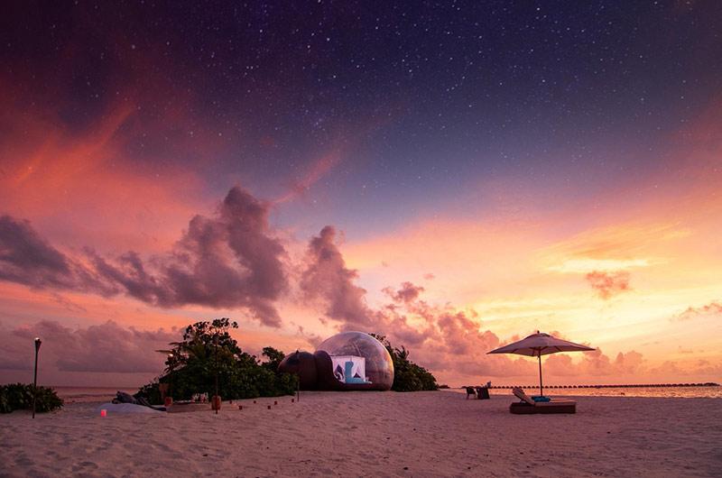 Beach bubble, Finolhu, The Maldives, Best glampsite in the world, Eye in the Sky, Best beach glampsite in the world