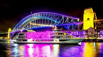 Experience Vivid Sydney on a harbour Vivid cruise