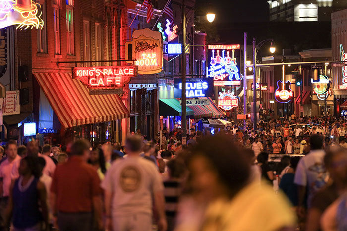 Beale Street at night. Image by Brand USA