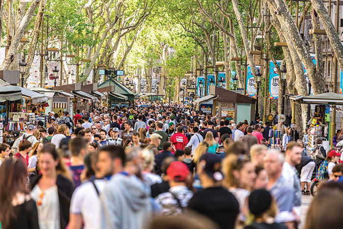 Take the pressure down: Overcrowding on the streets of Barcelona. Image: iStock