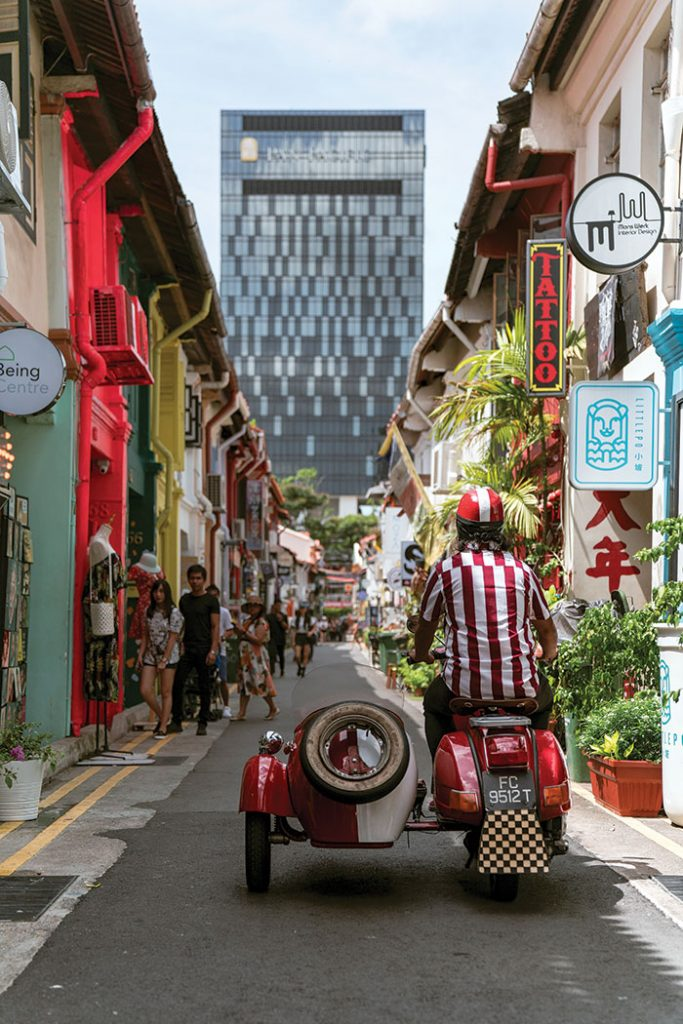Singapore spin:Cruising down Arab Street with Singapore Sidecars. Image: Leigh Griffiths
