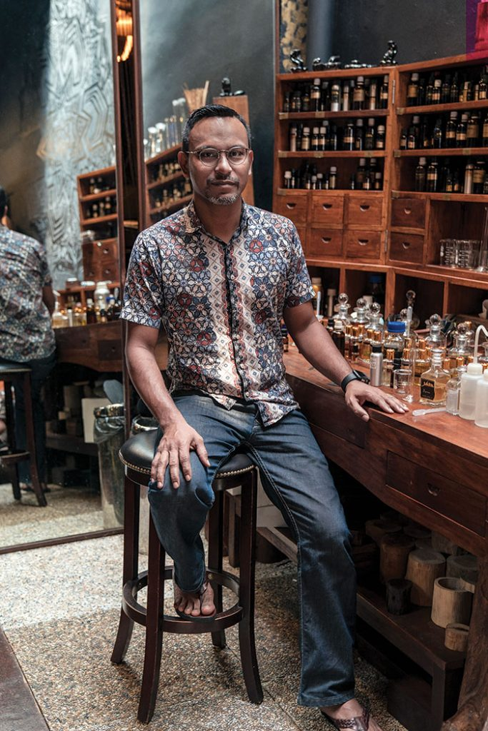 Singapore spin: Johari, owner of Sifr Aromatics in the Arab Street district. Image: Leigh Griffiths