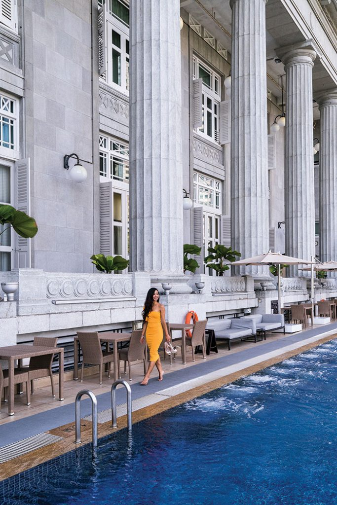 Singapore spin: Poolside at The Fullerton Hotel Singapore. Image: Leigh Griffiths