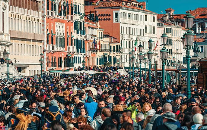 Take the pressure down: Swelling crowds in Venice. Image: iStock
