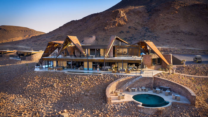 African Photo Safari: Aerial view of the guest area at Sossusvlei Desert Lodge.