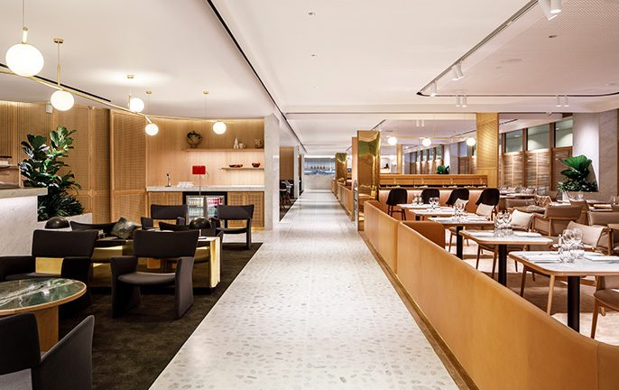 Qantas First Lounge at Changi Airport, Singapore.