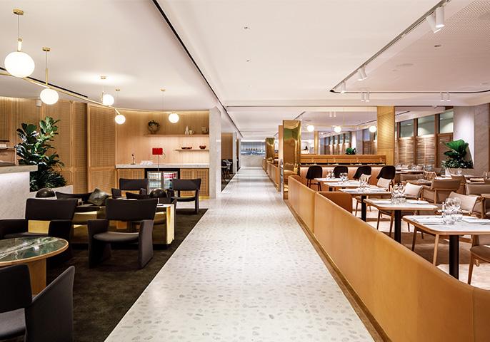 Qantas First Lounge at Changi Airport, Singapore.