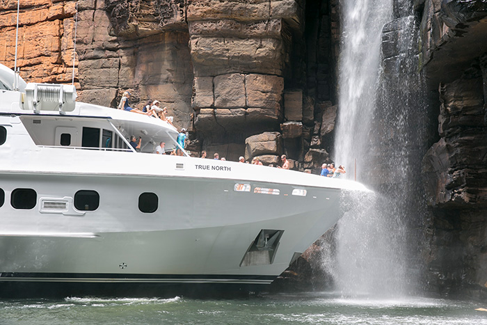 The adventure cruise ship True North provides the ultimate Kimberley waterfall experience.
