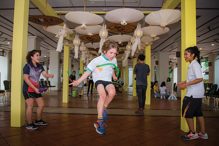 Arlo finishing the obstacle course in kids' club. Image: Lindy Alexander