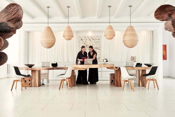 Mykonos, Greece. Myconian Hotels and Resorts reception desk