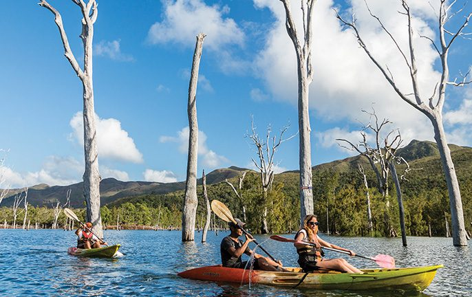 New Caledonia: Kayaking through Blue River Provincial Park. Image: Terres de Lumière - NCTPS
