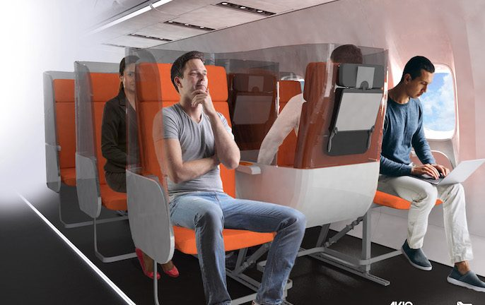 New seat design for air travel post coronavirus. Image: Aviointeriors
