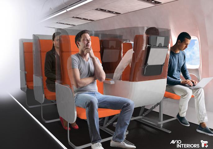 New seat design for air travel post coronavirus. Image: Aviointeriors