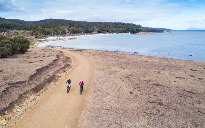 Tasmania bike trails: Cycling around Maria Island. Image: Stu Gibson
