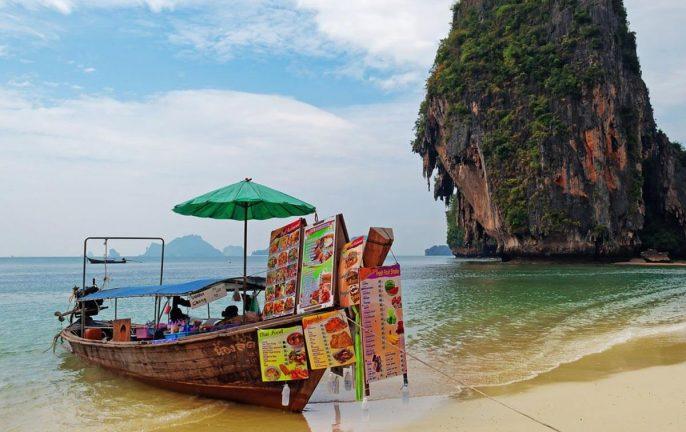 Boat restaurant on Railay Beach