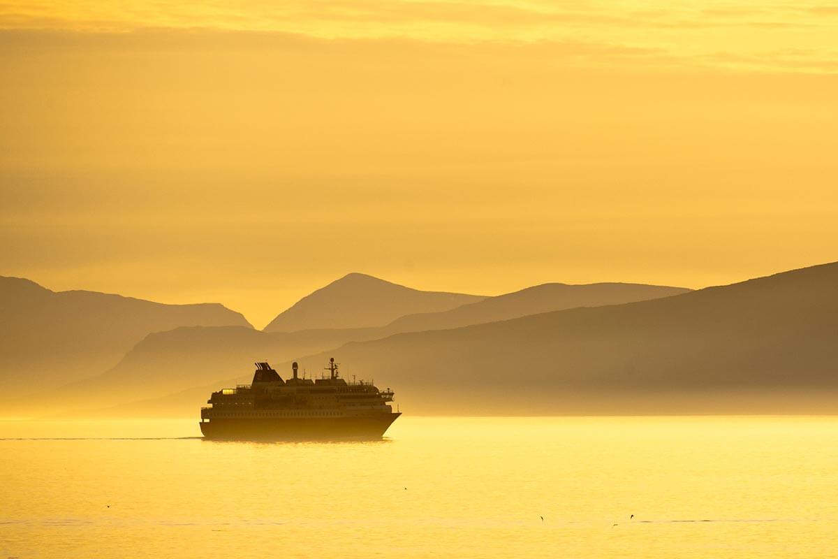 Hurtigruten cruising through the Midnight Sun