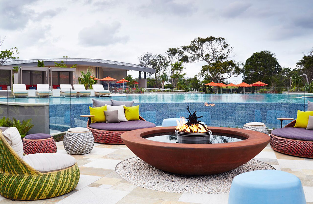 The firepit at the main pool