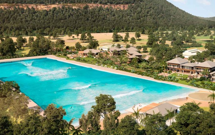 View of the Wisemans Ferry Surf Lodge wave pool