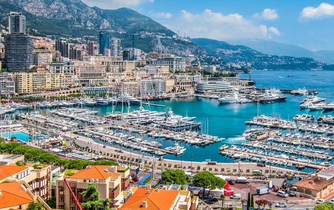Panoramic view of Monte Carlo harbor in Monaco.