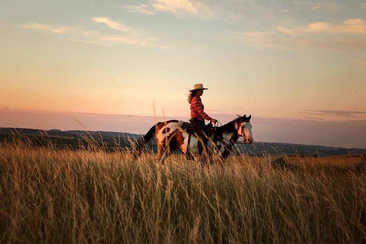 Horseback riding in Theodore Roosevelt National Park