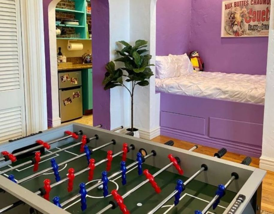 A foosball table at the friends airbnb