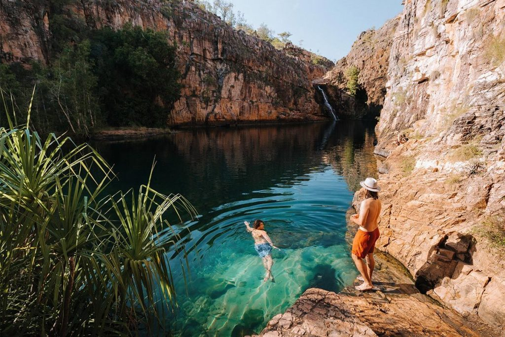 Diving into Maguk Falls in Kakadu